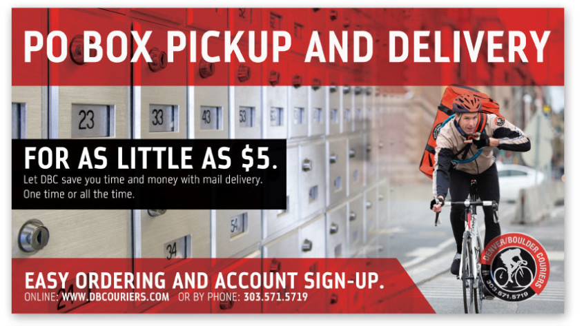 Direct Mailer for Denver Boulder Couriers advertising a PO Box delivery service.