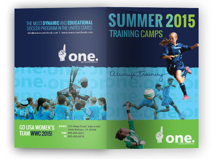 Image of the cover design for the one.Soccer Schools 2015 brochure.