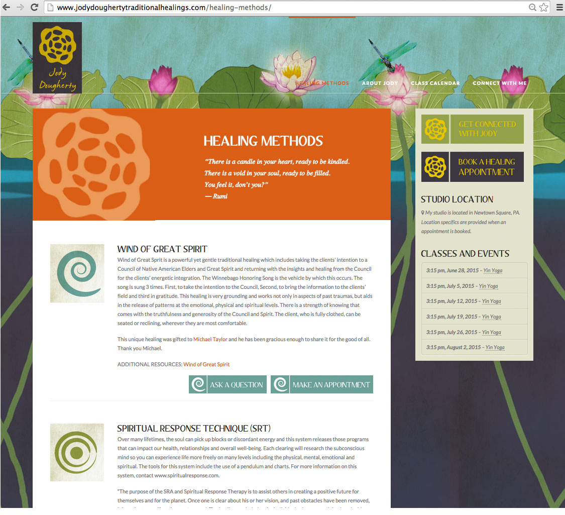 Design of a web page that describes healing methods and offers a link to book appointments.