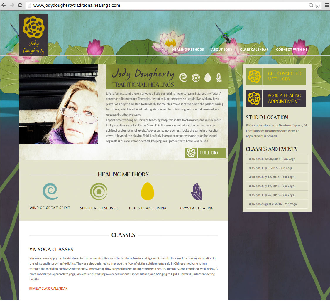 Home page design of a healing web site.